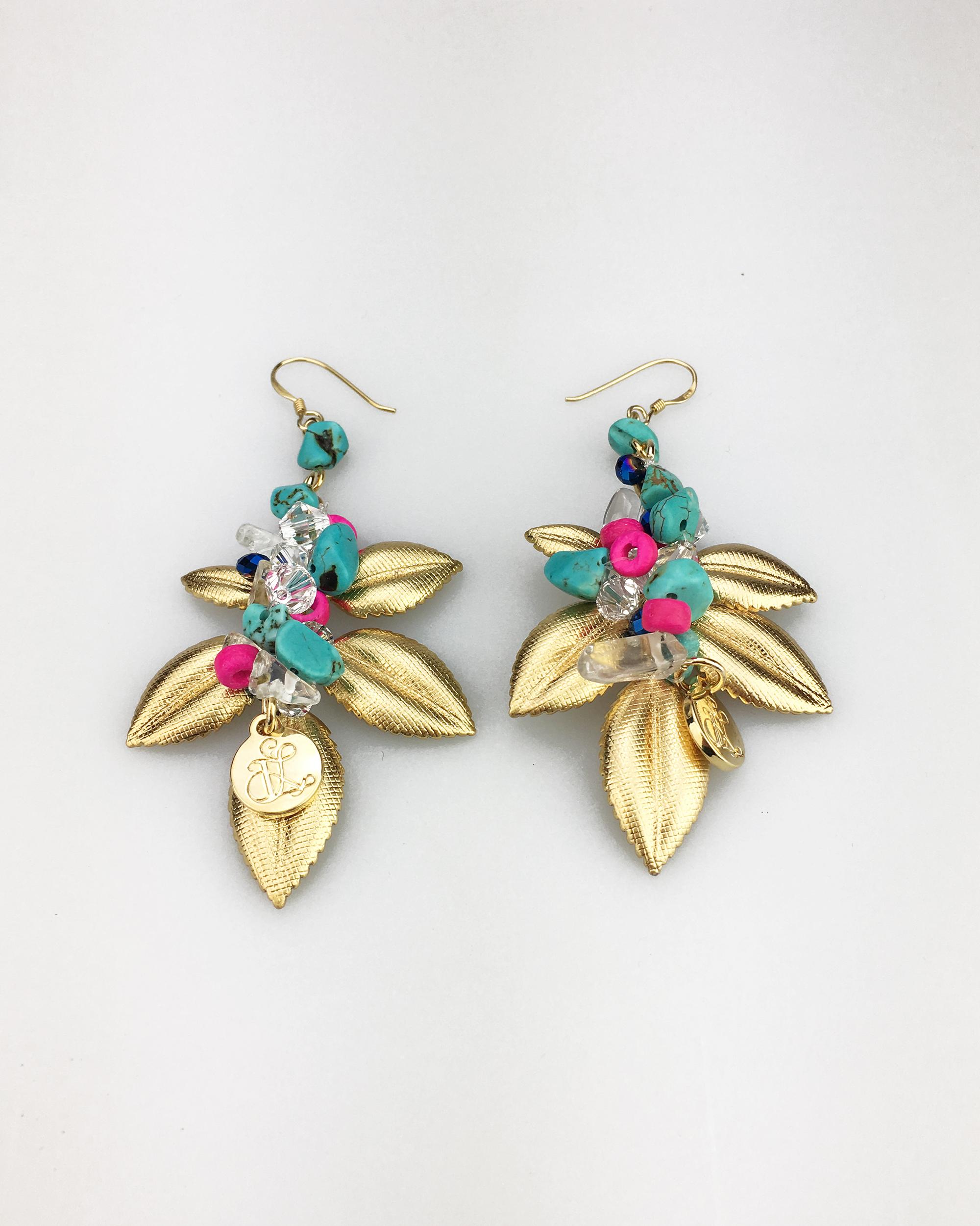 Flora Tropical Leaf Earrings